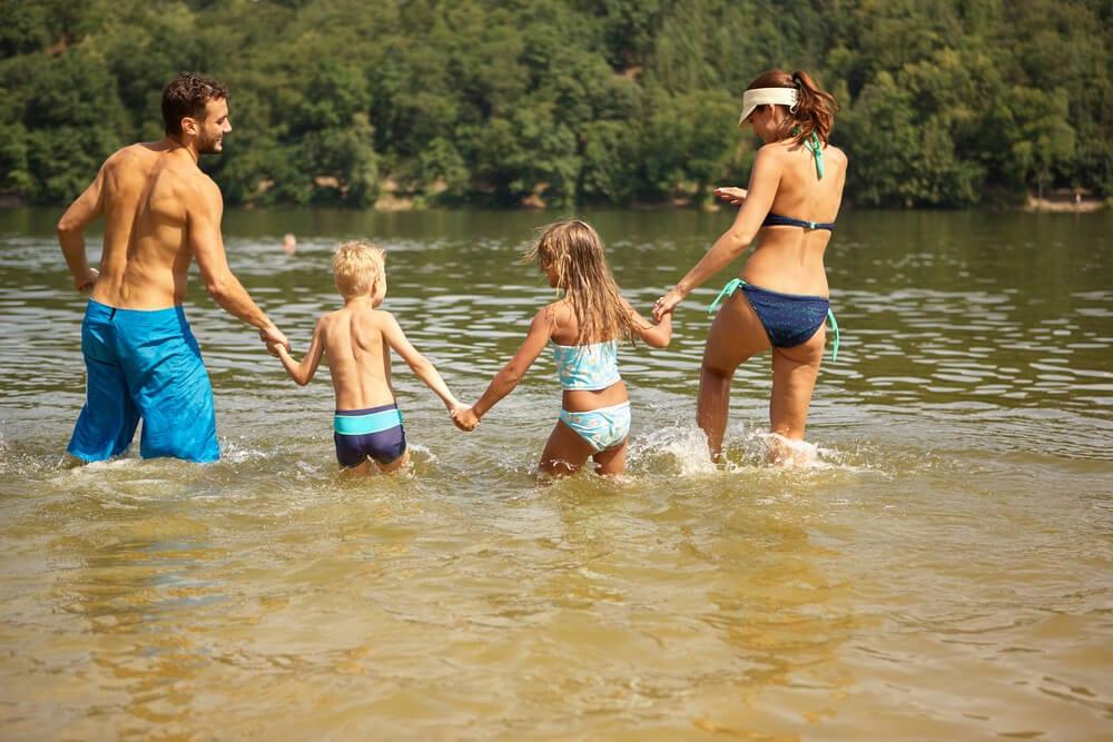 A Family Enjoying a Broken Bow Lake Swimming Hole